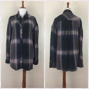 Free People Plaid Cotton Flannel Button Down